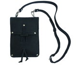 Leather Shoulder Pouch Satchel, Kindle, Nook, iPad Mini Case - Charcoal Black