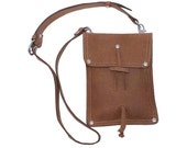 Leather Shoulder Pouch Satchel, Kindle, Nook, iPad Mini Case - Buckskin Tan