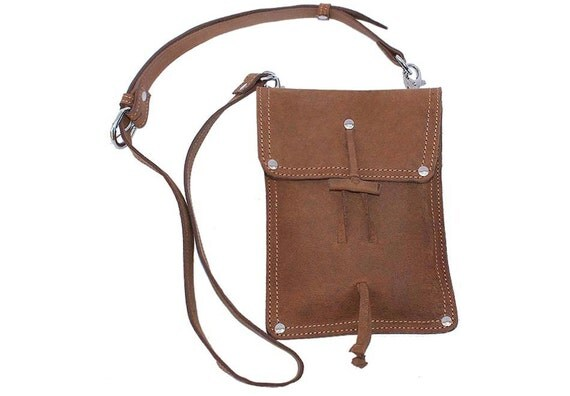 Leather Shoulder Pouch Satchel, Kindle, Nook, iPad Mini Case - Buckskin Tan