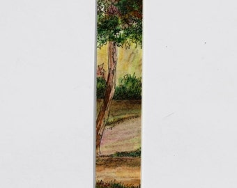"Country Landscape Bookmark Laminated Original Pen and Ink Pastel 1.5"" x 8"""