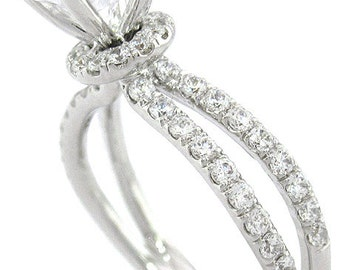 14k white gold round cut diamond engagement ring 1.67ct split band