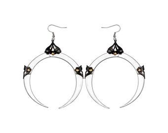 FULL MOON / Large Silver Dangle Earrings / Free Shipping