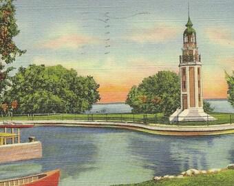 Bray's Point and Lighthouse Vintage Linen Postcard OSHKOSH Wisconsin1948