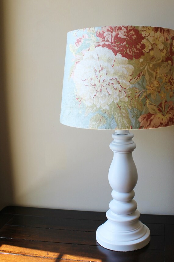shabby chic waverly fabric lamp ooak. Black Bedroom Furniture Sets. Home Design Ideas