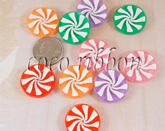 25mm 10/20/50pcs Christmas Sparkle Peppermint Candy Flatback Resin Cabochons