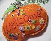 Welcome Pumpkin felt autum ornament