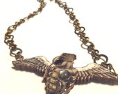 Flying Grenade Necklace - Steampunk Fashion,Military Inspired Fashion, Women, Moss Green, Chain, Wings, Ready to Ship, SALE - Now 40% OFF