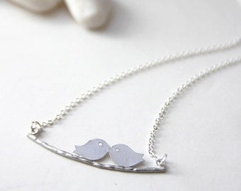 Love Birds on Branch in Silver. Everyday Wear. Gift For Her (SNL-17)