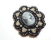 Sparkling Black and Silver Hair Clip with Black and Grey Cameo