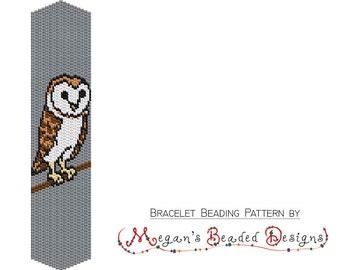 Barn Owl Beading Peyote Bracelet Pattern 2 Drop PDF - Commercial Selling OK