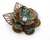 Starbucks Rose and Copper Leaves Button Brooch/Pin.  Recycled Soda Can Art.