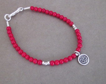 Coral bracelet with Silver charm mantra OM pendant  / 7 inches ready to send / silver 925