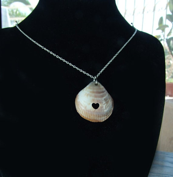Special Summer Necklace- Big Sea Shell with Carved Heart- Jewelry Pendant- Romantic Gift SALE 25% off
