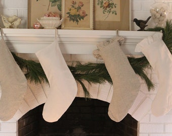 Ruffled Linen Christmas Stocking