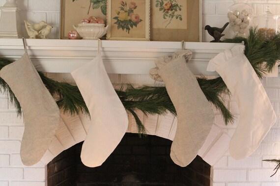Ruffled Linen Christmas Stocking