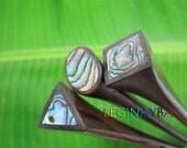 set of 3 wooden paua hair stick
