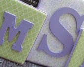Nursery Letters, 3 Piece Letter Set, Lavender and Green Nursery, mini dot bedding, Framed Monogram, Painted Letters, Wall Letters