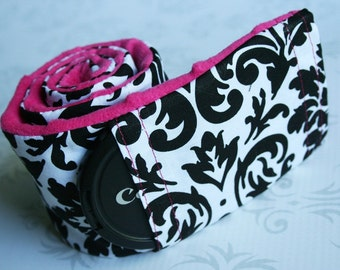 Camera Strap Cover with Lens Cap Pocket - Padded - Photographer Gift - White/Black Damask with Fushia Padded Minky