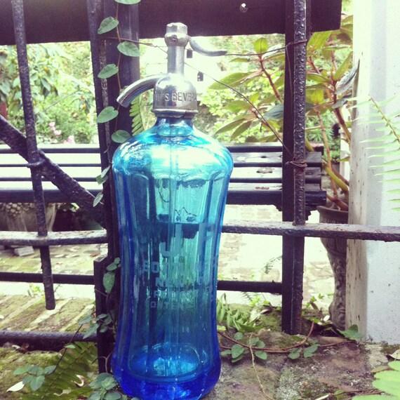 Antique Blue Glass New York Seltzer Bottle - Rare Shape
