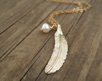 JUNE BIRTHSTONE Long Gold Necklace Gold Feather Necklace Feather Jewelry Minimalist Pendant Pearl necklace, Delicate Gold Fill Necklace