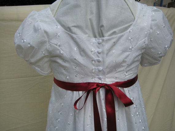 Regency Dress/Gown. Jane Austen. CUSTOM MADE. Embroidered Cotton, Ribbon Sash any colour.