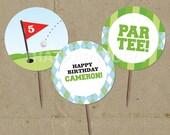 DIY Golf PAR-TEE Birthday Party Favor Tags Cup Cake Toppers - Digital U Print
