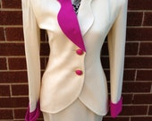 Cream and pink vintage skirt and jacket suit