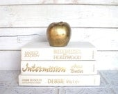 White Books Instant Library Collection Vintage Decorative Book Bundle Photography Props Cream, Off White,  Wedding Gold