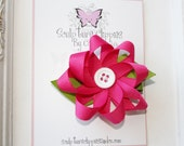 Button Daisy Ribbon Sculpture Bow. Custom color. Free Ship Promo.
