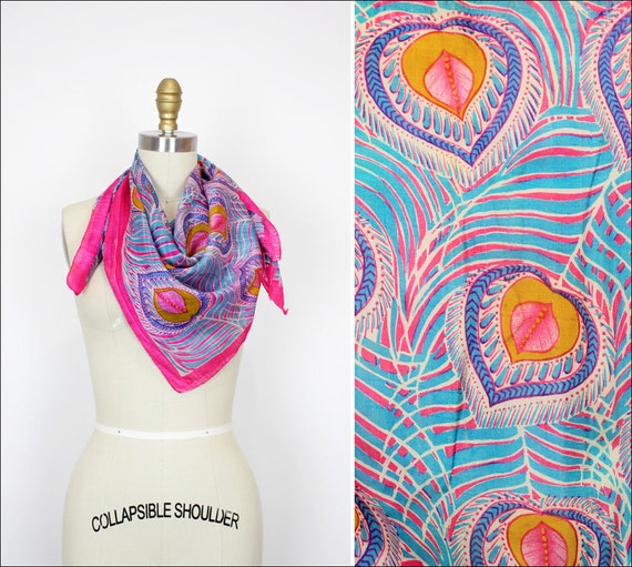hot pink silk scarf w/ saffron & turquoise feathers