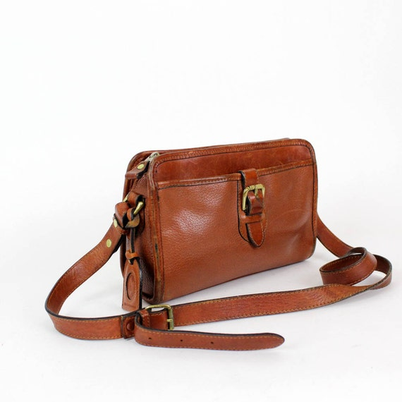 chestnut brown leather crossbody satchel