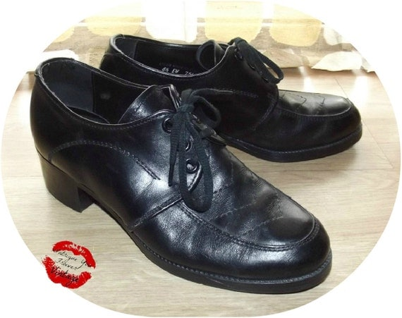 Vintage 60s 70s Lace Up Oxford Shoes MOD Swing 8m 10w MADMEN Black Leather 8.5 EW Mens or 10.5 M Womens