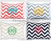 Monogrammed Pillow Personalized Home Decor Chevron Pillow Cover Monogrammed Gift 12 x 16 Personalized Kids Gift Wedding Gift