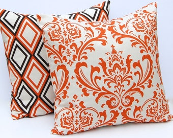 Decorative Throw Pillow Covers 20 x 20 Autumn Decor Pair of Two in Sweet Potato Orange and Natural - Damask and Diamonds