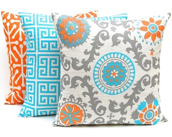 Decorative Throw Pillow Covers - Turquoise Pillow Covers - Set of Three - Turquoise, Orange, Gray- 16 x 16 - Orange Pillow Covers