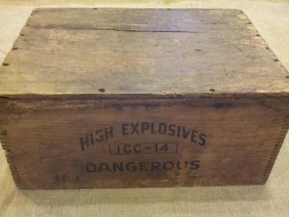 Antique Wooden Dynamite Crate Box Burton Explosives