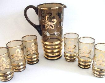 Vintage   Amber Glass  Pitcher Set