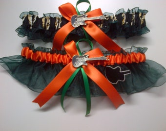 Guitar theme Wedding Garter set any size color or style.