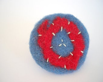 Blue and red felted ring - round embroidered textile jewelry - statement ring