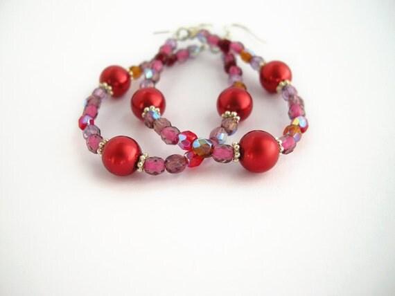 Red teardrop earrings, sparkly glass beads, handmade beaded jewelry, bead earrings, boho earrings