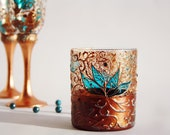 Turquoise Copper Tea Light Candle Holder Hand Painted Floral Copper Lace Stained Glass