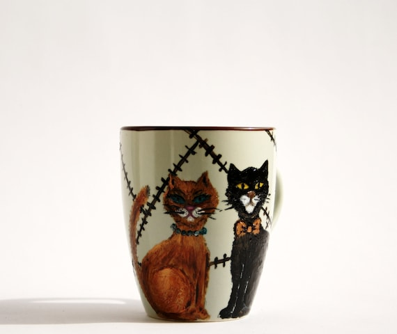 Hand Painted Ceramic mug cup Cats