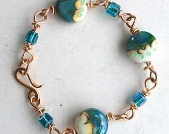 Brass and Bead Lampwork Bracelet