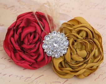 Flower Headband, Baby Headband, Singed Rose Headband, Gold & Red Headband, Holiday Headband, Photo Prop, Little Diva Boutique, NO.12-45