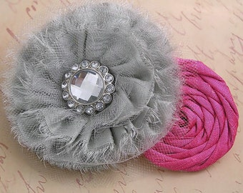 Grey Baby Headband, Vintage Inspired Headband Dupioni Silk Rosette Headband Fascinator Couture Baby Toddler Headband Photo Prop NO.12-3a