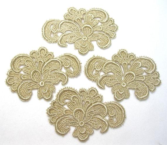 Venice Lace Flower Applique Set of 4, Venise Motif Golden