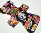 """11"""" Washable Reusable Cloth Menstrual Pad Day of the Dead Last One"""