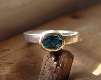 Oval London Blue Topaz Ring Sterling Silver Hand Forged Textured Hammered Recycled Eco Friendly Ring