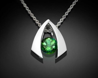 green topaz pendant, green topaz necklace, silver pendant, tension set jewelry, modern necklace, delicate necklace, eco-friendly-3424