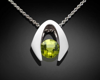 Peridot Necklace, August Birthstone, Gemstone Necklace, Argentium Silver, modern jewelry, Eco-Friendly, Green Pendant, tension set - 3425